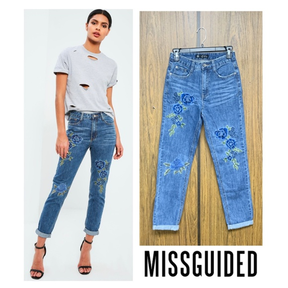 Missguided Denim - NEW Missguided Floral Embroidered High Waist Jeans